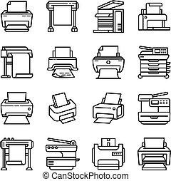 estilo, ícone, impressora, esboço