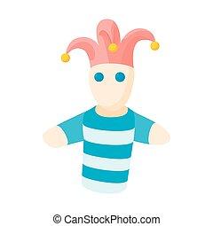 estilo, ícone, jester, caricatura, boneca