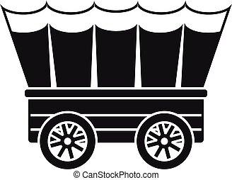 estilo, ícone, ocidental, carruagem, simples