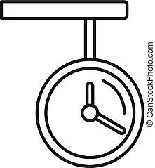 estilo, ícone, relógio, esboço, estação de comboios