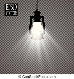 estilo, ícone, símbolo, mina, ilustração, isolado, experiência., vetorial, pretas, branca, lanterna, estoque