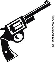 estilo, ícone, simples, aço, revólver