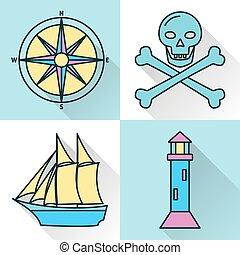 estilo, ícones, cobrança, mar, náutico, navio, linha