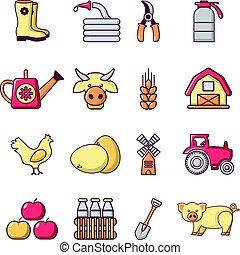 estilo, ícones, fazenda, jogo, agrícola, caricatura