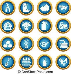 estilo, ícones, fazenda, jogo, agrícola, simples