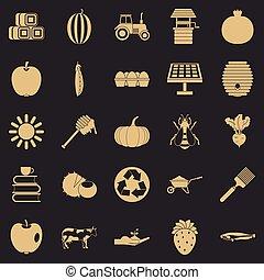 estilo, ícones, fazenda, privado, jogo, simples