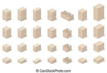 estilo, ícones, isometric, caixas, realístico, vetorial, gráficos, vista., 3d