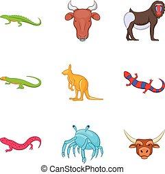 estilo, ícones, jogo, animal, australiano, caricatura