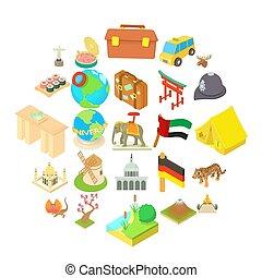 estilo, ícones, jogo, atração, feriado, caricatura