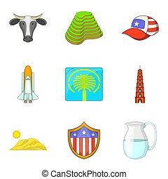 estilo, ícones, jogo, atração, mundo, caricatura