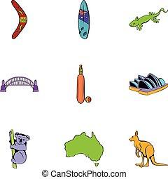 estilo, ícones, jogo, caricatura, australiano, continente