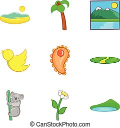 estilo, ícones, jogo, caricatura, australiano, fauna