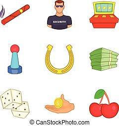 estilo, ícones, jogo, cassino, segurança, caricatura
