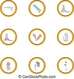 estilo, ícones, jogo, cirurgia ortopédica, caricatura