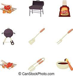 estilo, ícones, jogo, cozinhar, equipamento, caricatura