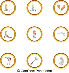 estilo, ícones, jogo, doença, ortopédico, caricatura