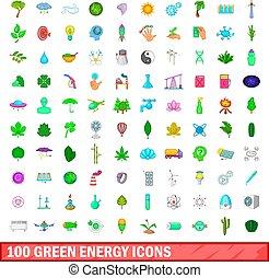 estilo, ícones, jogo, energia, verde, 100, caricatura