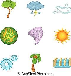estilo, ícones, jogo, energia, verde, caricatura