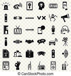 estilo, ícones, jogo, equipamento, áudio, simples