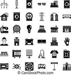 estilo, ícones, jogo, equipamento, elétrico, simples