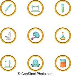 estilo, ícones, jogo, equipamento, laboratório, caricatura