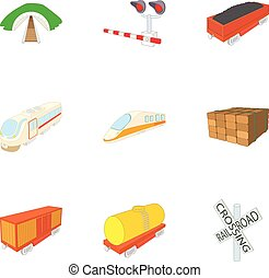 estilo, ícones, jogo, estrada ferro, caricatura, transporte