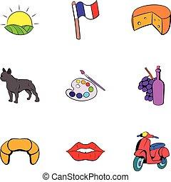 estilo, ícones, jogo, francês, nação, caricatura