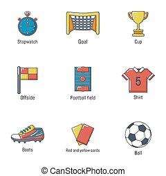 estilo, ícones, jogo, futebol, mundo, caricatura