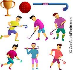 estilo, ícones, jogo, hockey campo, caricatura