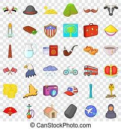 estilo, ícones, jogo, marco, mundo, caricatura