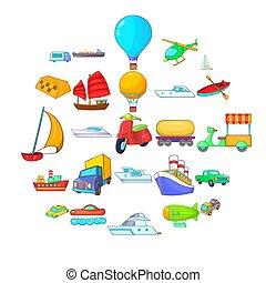 estilo, ícones, jogo, mundo, abertos, caricatura