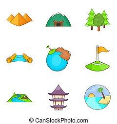 estilo, ícones, jogo, mundo, caricatura, homem