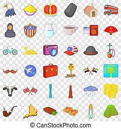 estilo, ícones, jogo, mundo, turismo, caricatura