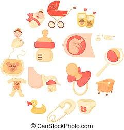 estilo, ícones, jogo, nascido, bebê, caricatura