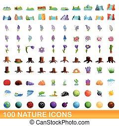 estilo, ícones, jogo, natureza, 100, caricatura