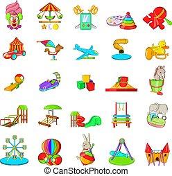 estilo, ícones, jogo, pátio recreio, caricatura, criança