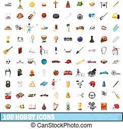 estilo, ícones, jogo, passatempo, 100, caricatura
