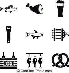estilo, ícones, jogo, peixe, simples, pronto