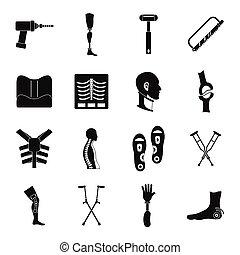 estilo, ícones, jogo, prosthetics, simples, ortopedia