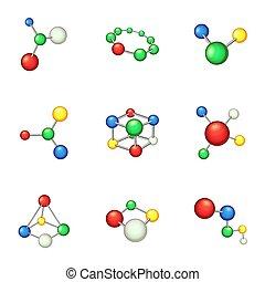 estilo, ícones, jogo, químico, mundo, caricatura