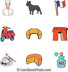 estilo, ícones, jogo, república francesa, caricatura