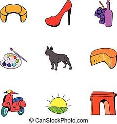 estilo, ícones, jogo, símbolo, francês, caricatura