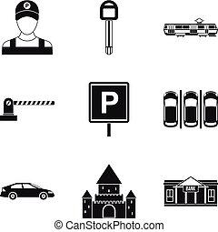 estilo, ícones, jogo, simples, construção, estacionamento