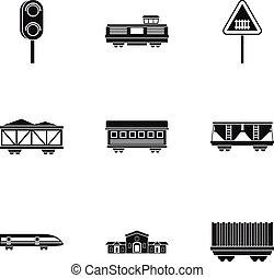 estilo, ícones, jogo, simples, estrada ferro, transporte