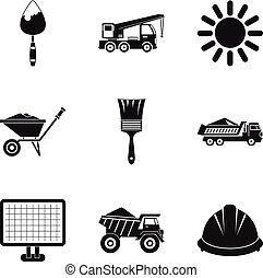 estilo, ícones, jogo, simples, maquinaria construção