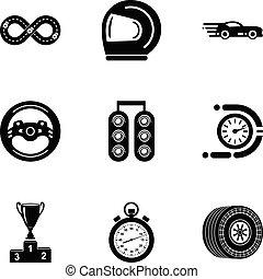 estilo, ícones, jogo, simples, raça, motocicleta