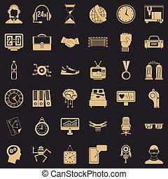 estilo, ícones, jogo, simples, tempo, desporto