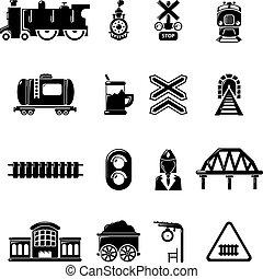 estilo, ícones, jogo, simples, trem, ferrovia