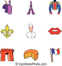estilo, ícones, jogo, torre eiffel, caricatura