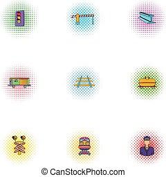 estilo, ícones, jogo, transporte, estrada ferro, pop-art